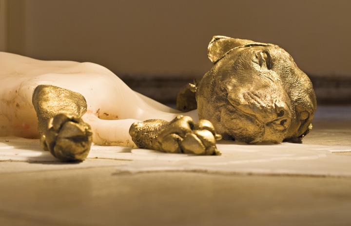 Tatiana Blass, Cão cego 1 or Blind dog 1 (Detail), Cast brass and paraffin wax, 17 x 200 x 250 cm, 2009. Image Courtesy: Andrew Kemp