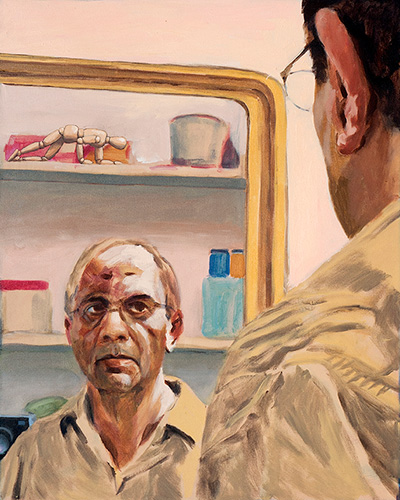 Sunil Patwardhan, Self-Portrait with Mirror and Camera, 24x30 inches, Acrylic on Canvas, 2016.