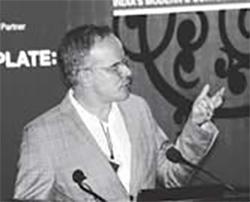 Hans Ulrich Obrist speaking at International Speakers Forum, India Art Summit 2009. Image Courtesy: IAS.