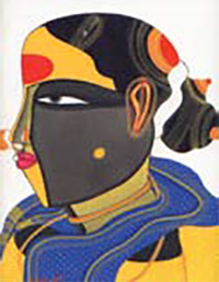 T. Vaikuntam, Single Lady, 2008; Acrylic on canvas, 9 x 12''.Priced at Rs. 3,00,000/-