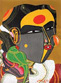 T. Vaikuntam, Single Lady with Parrot, 2008; Acrylic on canvas, 9 x 12''.Priced at Rs. 3,50,000/- (same size work but the parrot makes the difference)