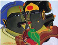 T. Vaikuntam, Couple with Parrot, 2008; Acrylic on canvas, 9 x 12''.Priced at Rs. 4,50,000/- (Price escalates further with the addition of another figure)